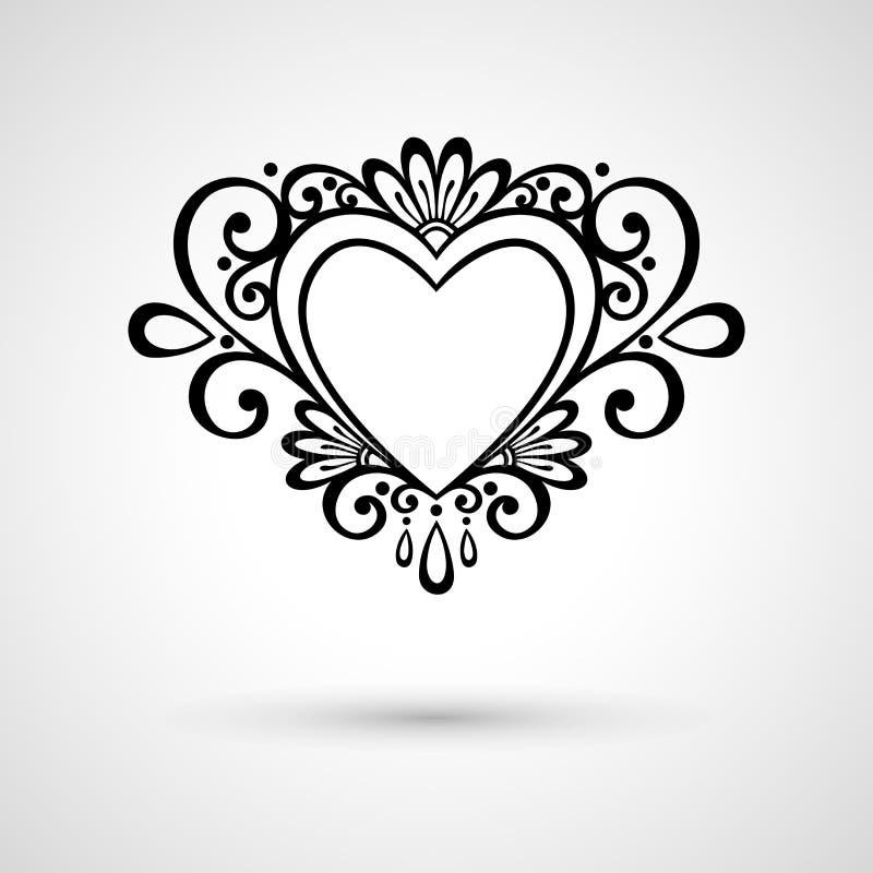 Coração floral de Deco do vetor em Gray Background ilustração royalty free