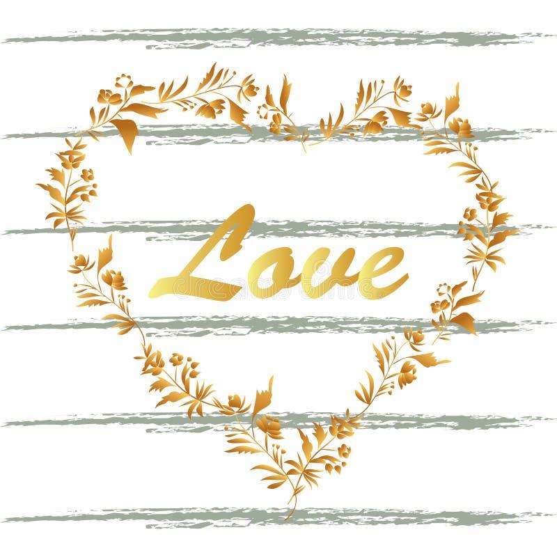 Coração floral decorativo e escova do vetor dourado no fundo branco Estilo do vintage Vetor ornamentado ilustração do vetor