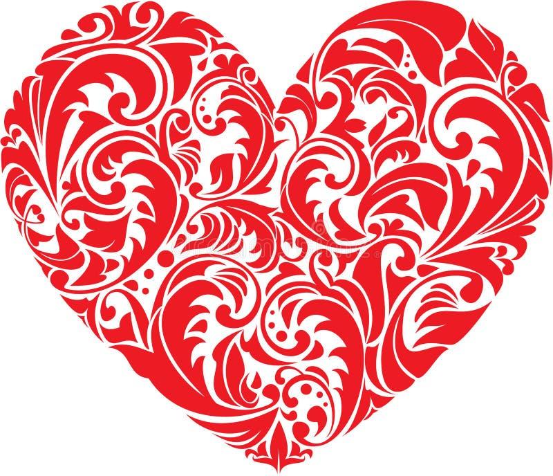 Coração floral decorativo vermelho no fundo branco.  ilustração do vetor