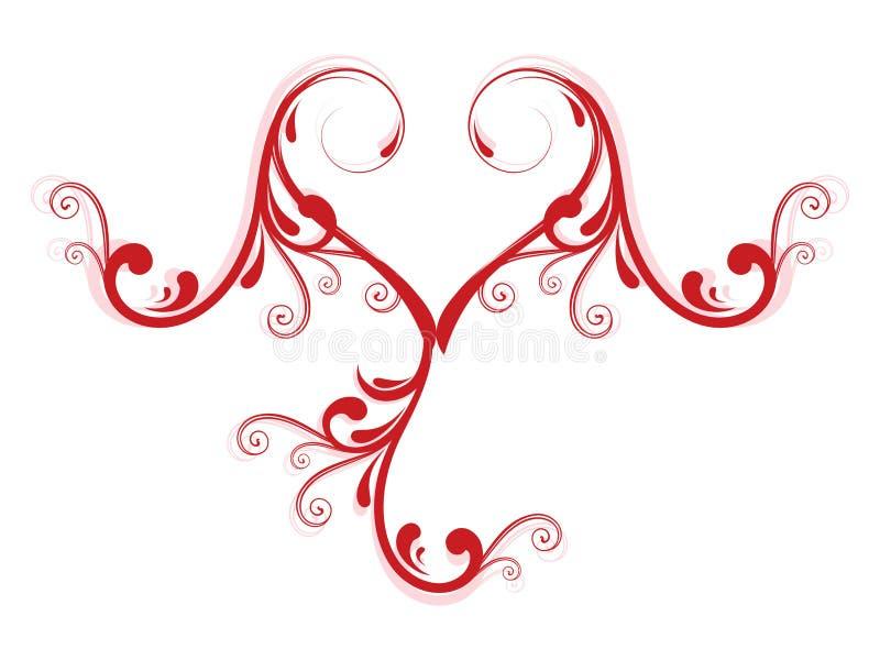 coração floral do amor creativo do projeto ilustração do vetor