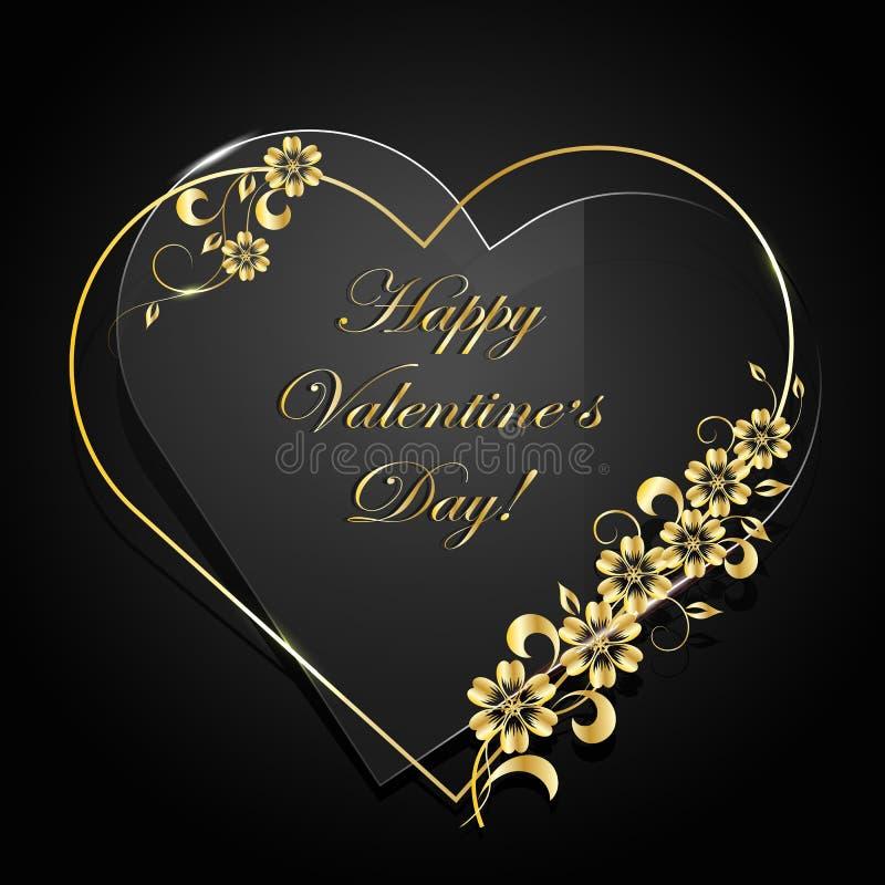 Coração floral do ouro e coração de vidro no fundo escuro ilustração stock