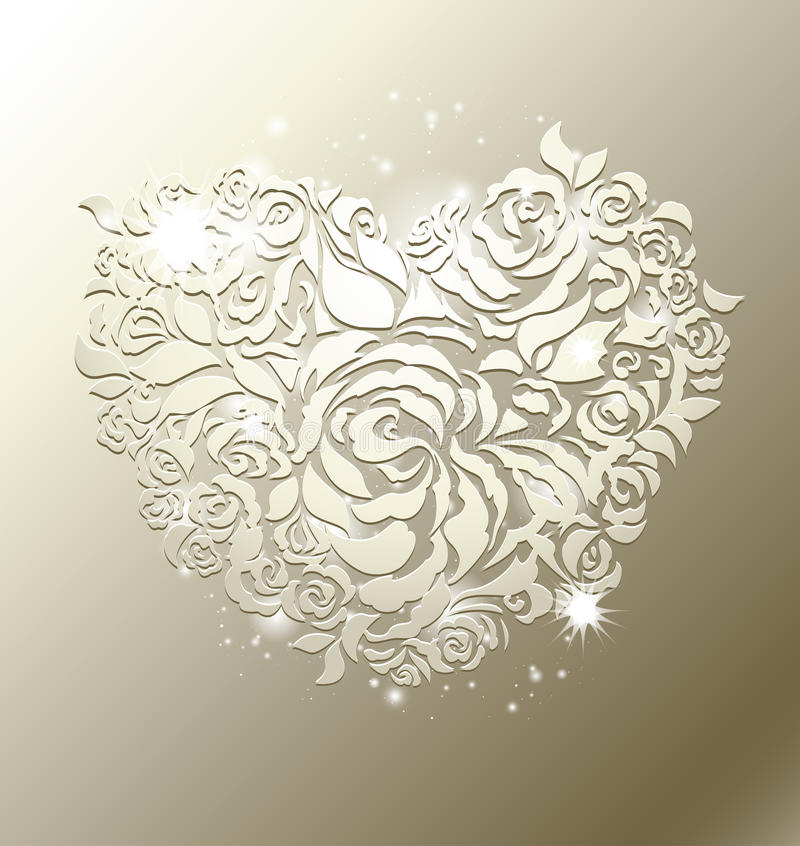 Coração floral no fundo da pérola ilustração stock
