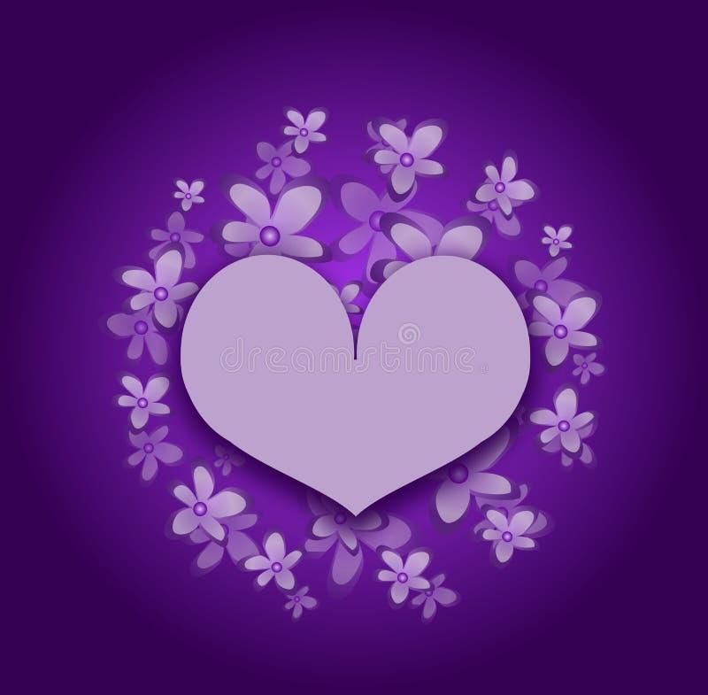 Coração floral roxo ilustração royalty free