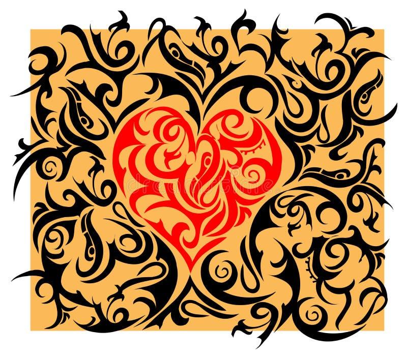 Coração-forma com ornamento tribal ilustração stock