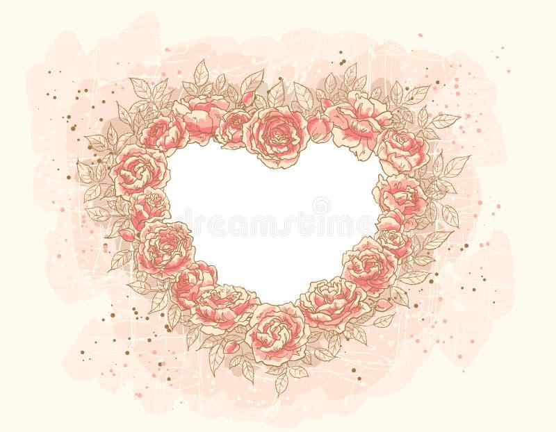 Coração-frame romântico com rosas ilustração do vetor