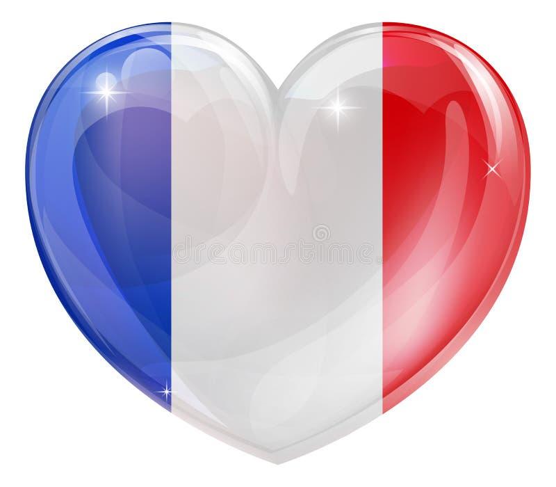 Coração francês da bandeira ilustração royalty free