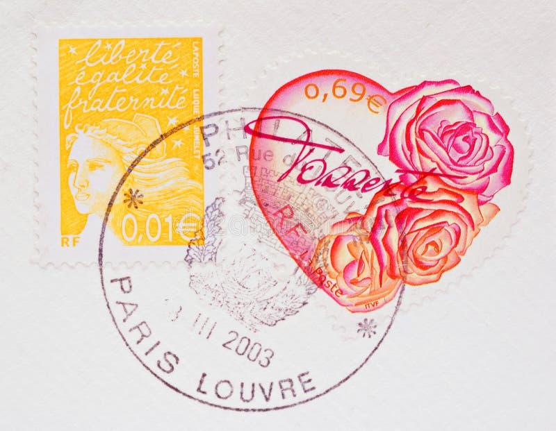 Coração francês selo de porte postal dado forma imagem de stock