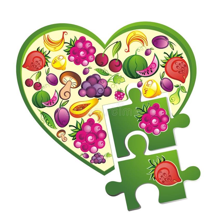 Coração fresco da fruta e verdura com enigmas ilustração stock