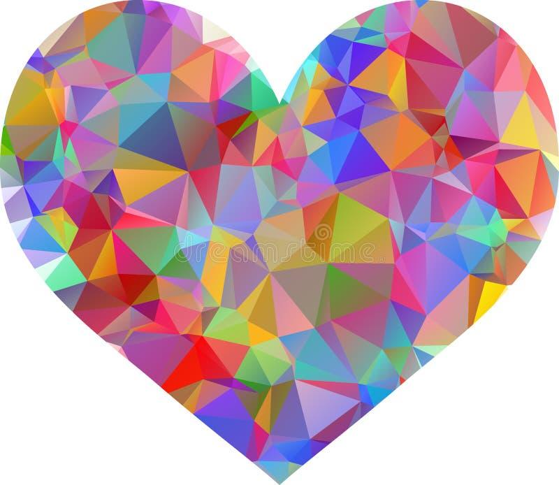 Coração geométrico do mosaico do vetor colorido ilustração stock