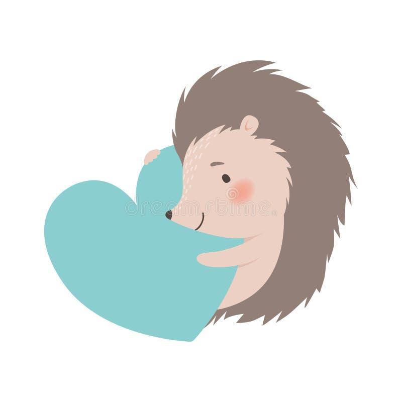 Coração grande da terra arrendada bonito do ouriço, ilustração animal espinhosa adorável do vetor do personagem de banda desenhad ilustração do vetor