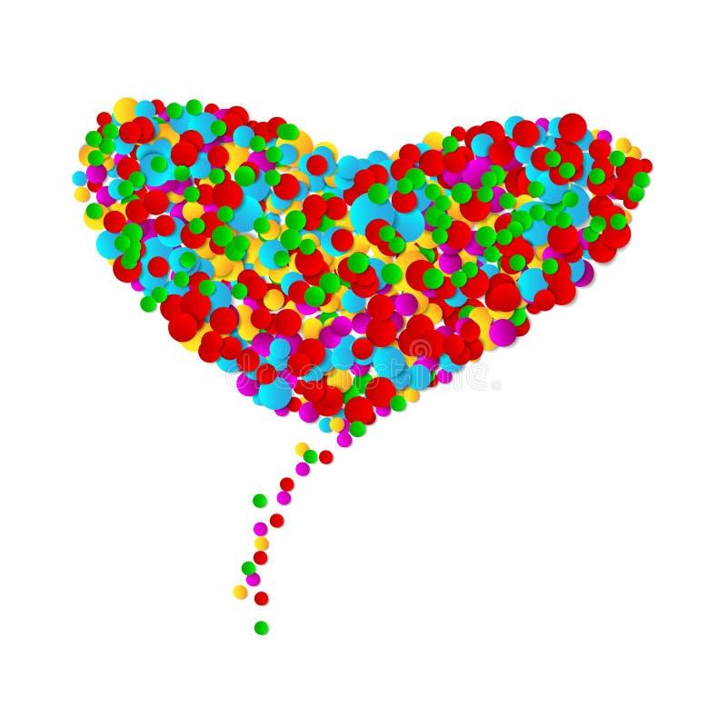 Coração grande feito dos confetes multicoloridos das formas redondas no fundo branco Pontos pequenos coloridos brilhantes Ilustra ilustração stock