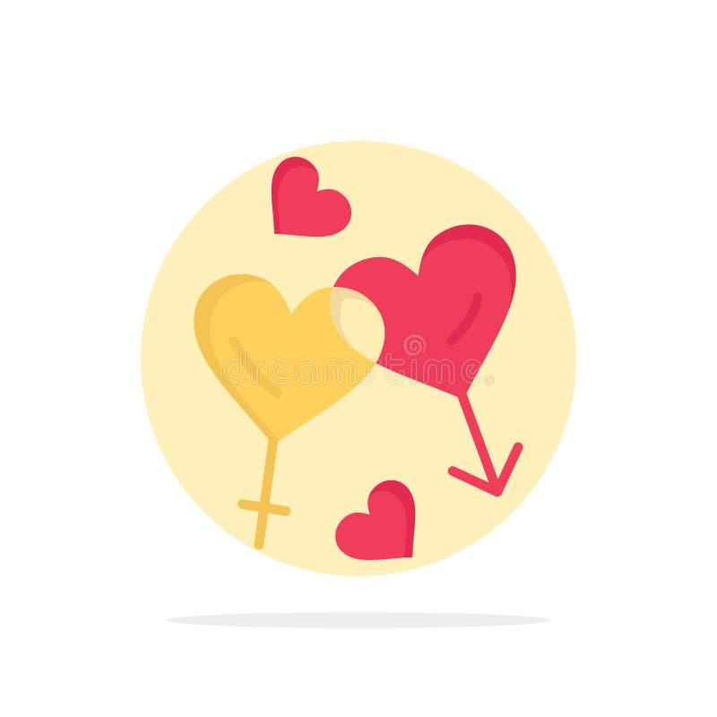 Coração, homem, mulheres, amor, ícone da cor de Valentine Abstract Circle Background Flat ilustração do vetor