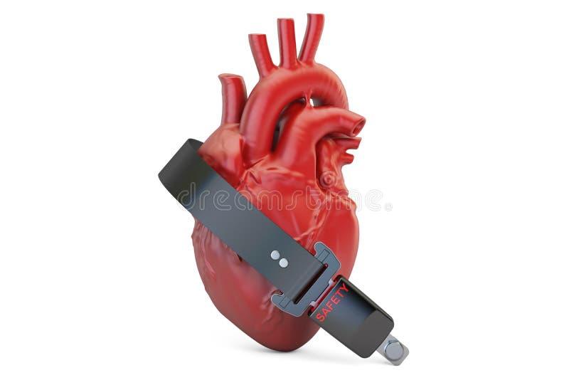 Coração humano com correia de segurança, conceito do seguro de saúde 3d ilustração stock