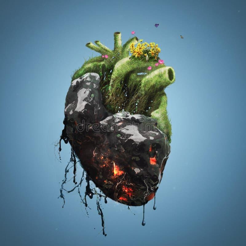 Coração humano com morte e vida ilustração do vetor