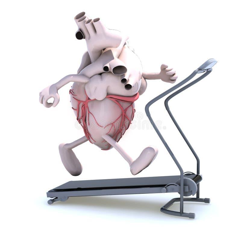 Coração humano em uma máquina running ilustração stock