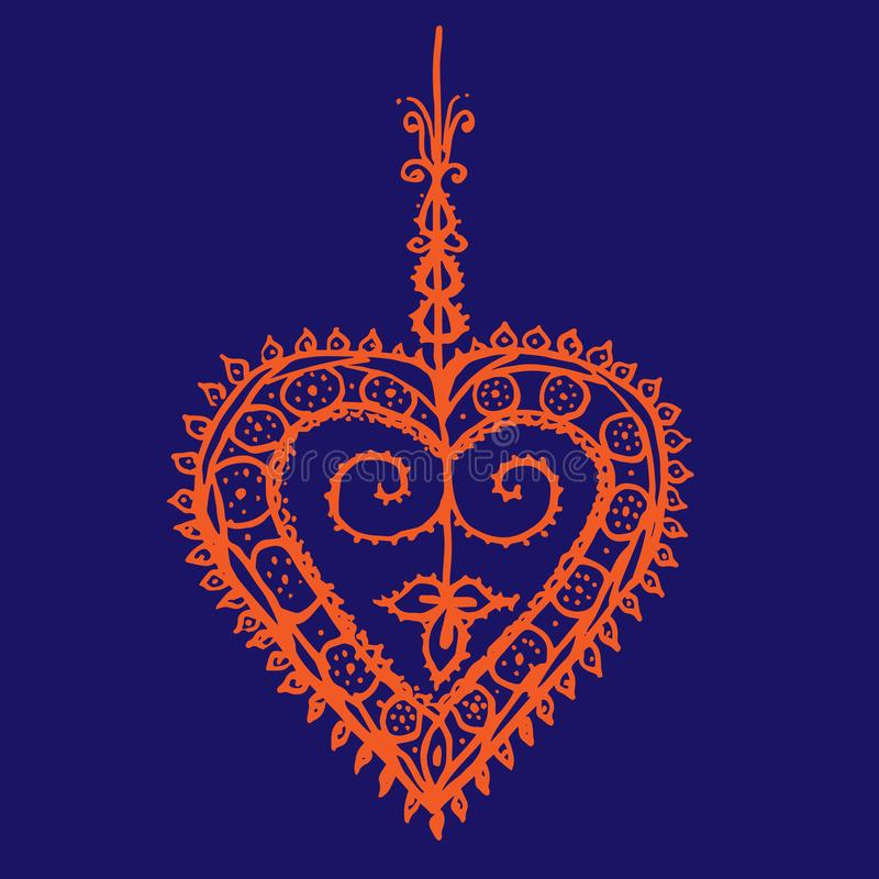 Coração indiano alaranjado da hena do teste padrão do tracery no fundo azul profundo ilustração do vetor