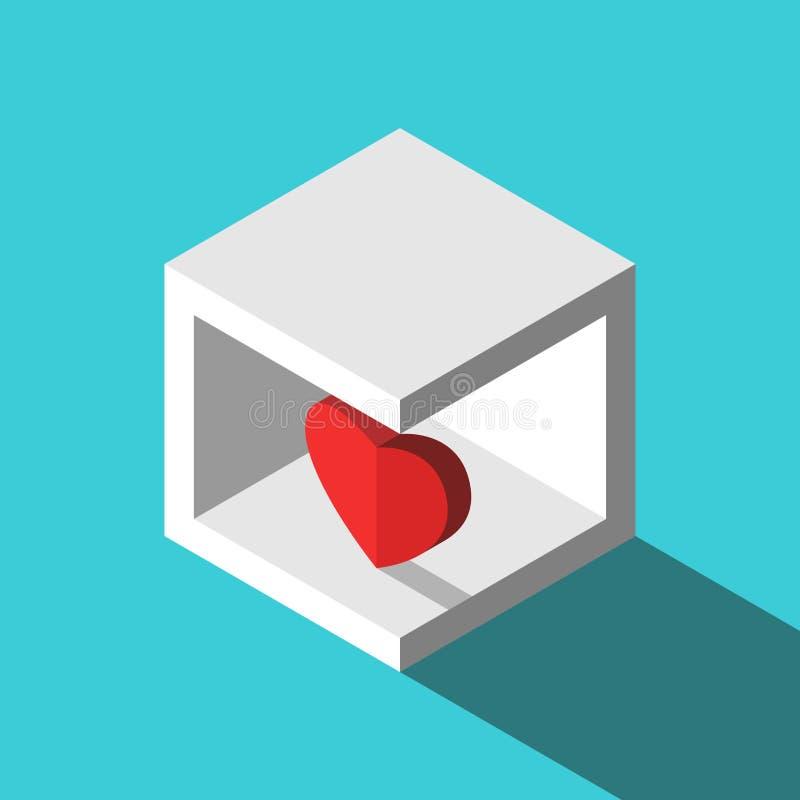 Coração isométrico na caixa ilustração do vetor
