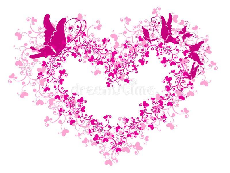 Coração laçado e borboleta ilustração do vetor