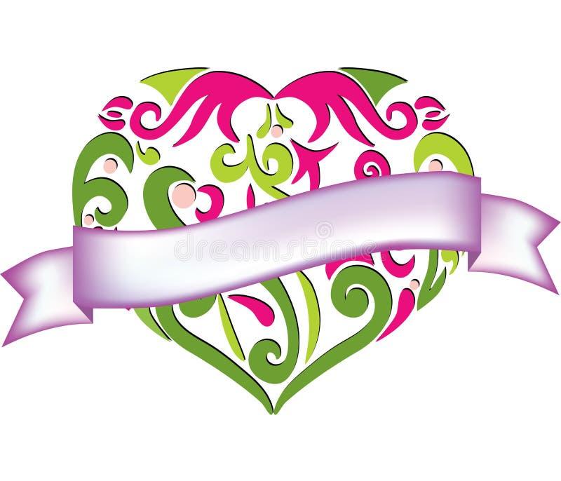 Coração Lobed com bandeira ilustração stock