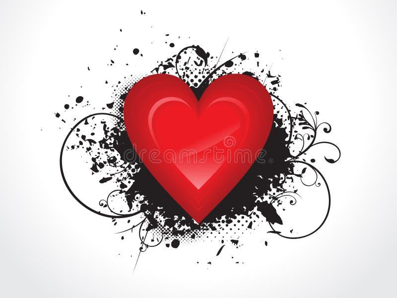 Coração lustroso abstrato com grunge ilustração stock