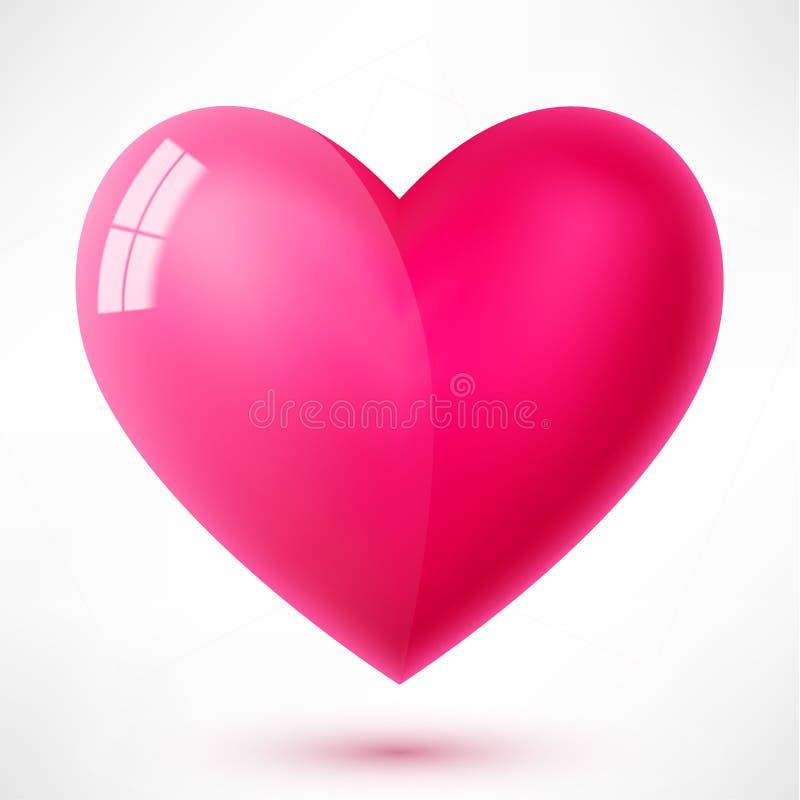 Coração lustroso com reflexão ilustração do vetor