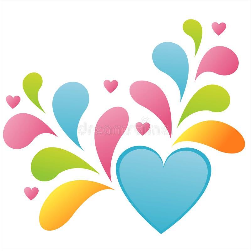 Coração lustroso com respingo colorido ilustração do vetor