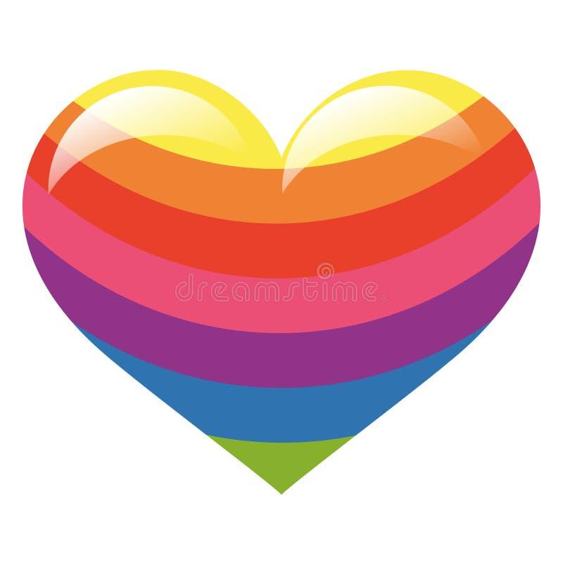 Coração lustroso da cor do arco-íris ilustração do vetor