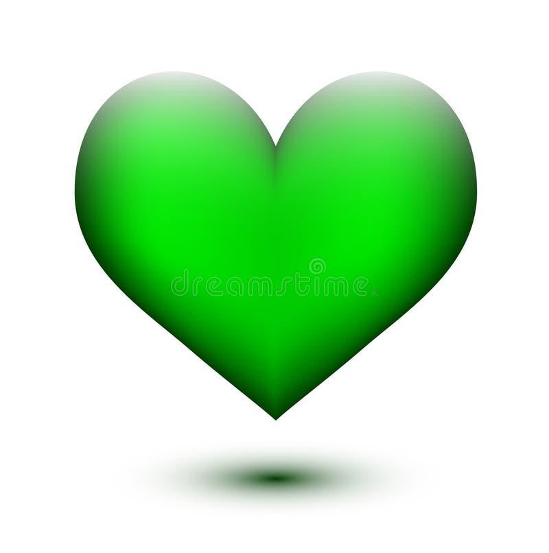 Coração lustroso verde ilustração do vetor