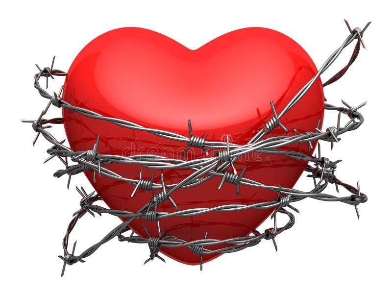 Coração lustroso vermelho cercado pelo arame farpado ilustração do vetor
