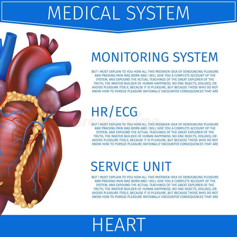 Coração médico do sistema da ilustração realística do vetor ilustração do vetor