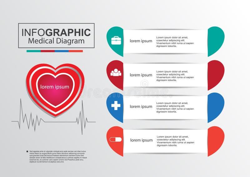 Coração médico infographic do vertor do diagrama do negócio ilustração royalty free