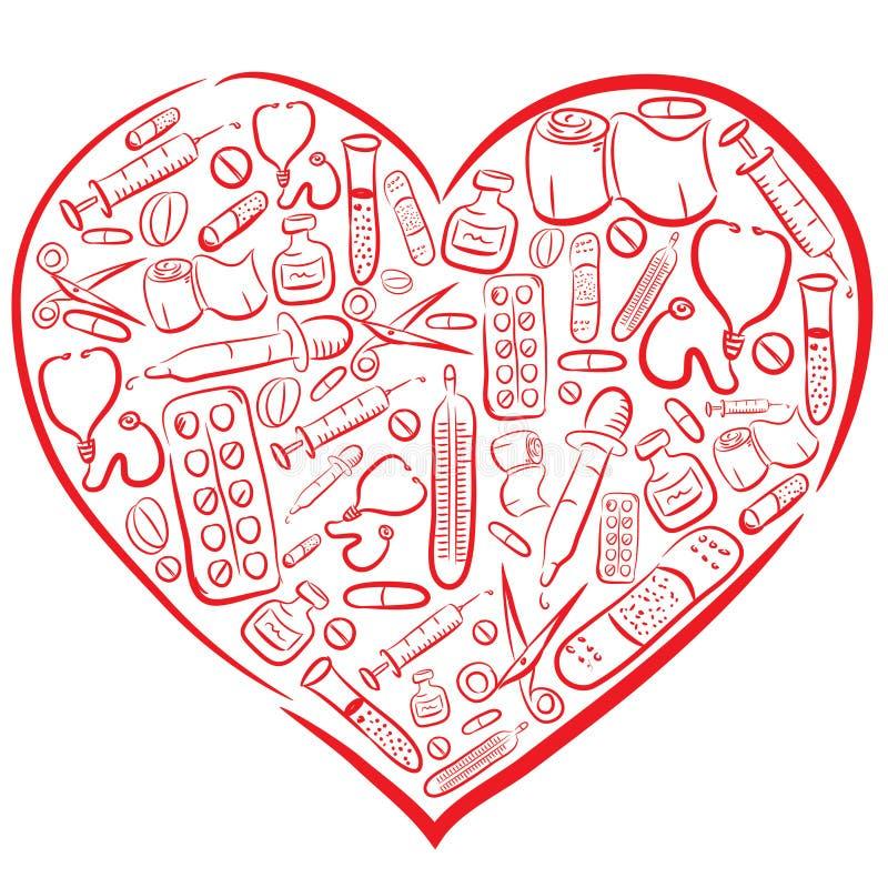 Coração médico tirado mão ilustração royalty free