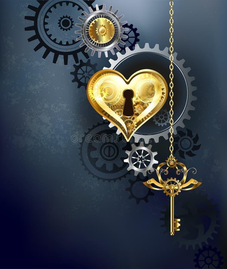 Coração mecânico com chave ilustração stock