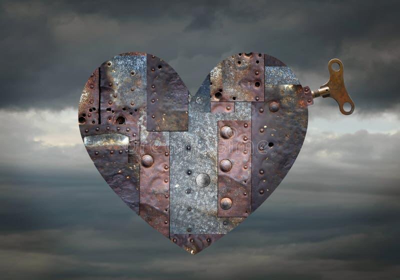 Coração mecânico com mecanismo da corda fotografia de stock royalty free