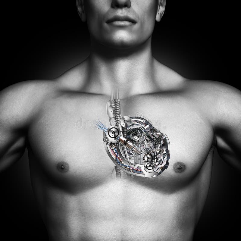 Coração mecânico Conceito humano saudável do coração fotografia de stock