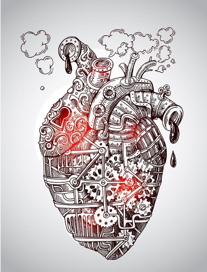 Coração mecânico da ilustração ilustração do vetor