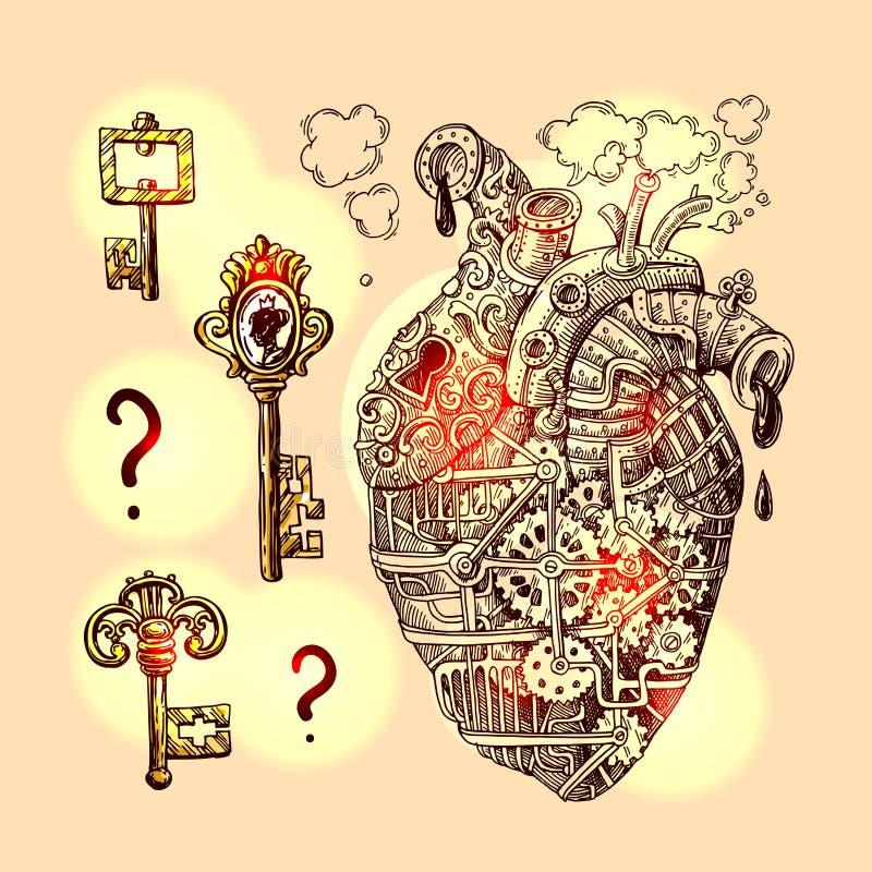 Coração mecânico da ilustração ilustração stock