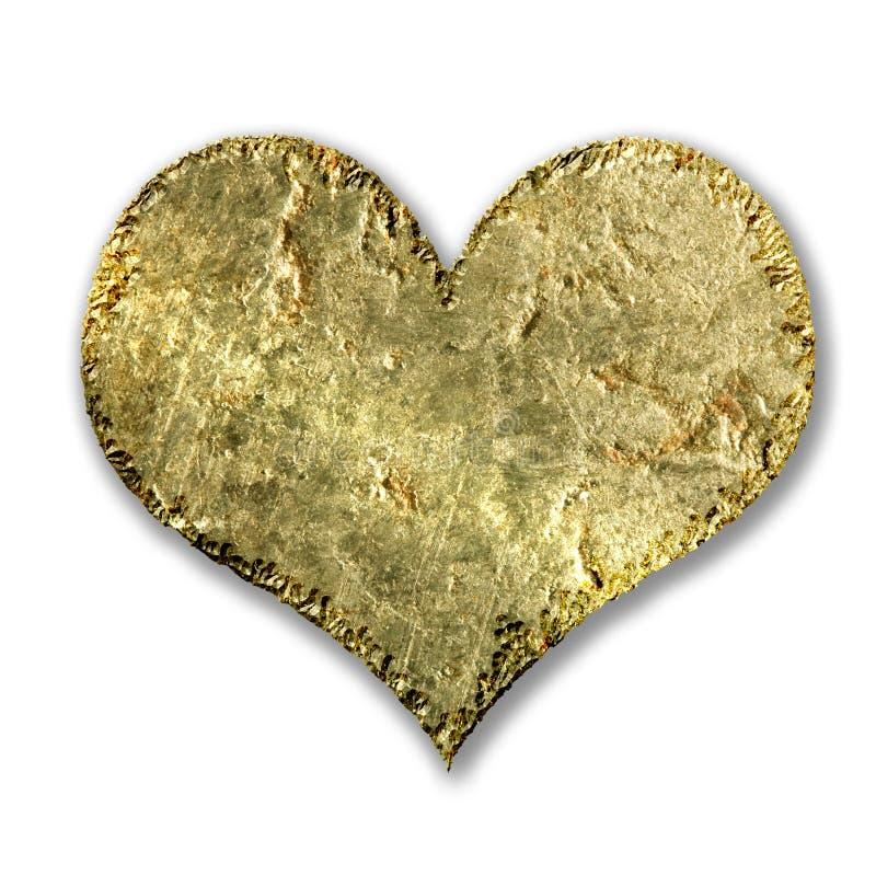 Coração metálico do grunge do ouro ilustração royalty free