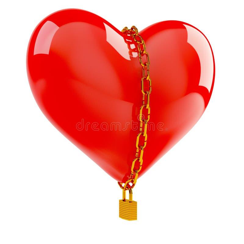 Coração na corrente do ouro ilustração do vetor