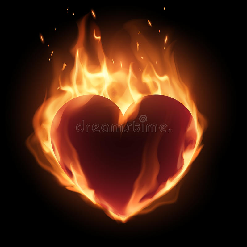 Coração na flama ilustração royalty free