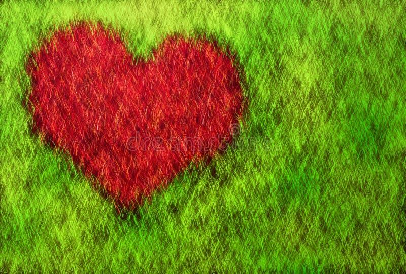 Coração na grama ilustração stock