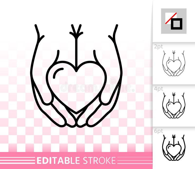 Coração na linha preta simples ícone das palmas do vetor da mão ilustração royalty free