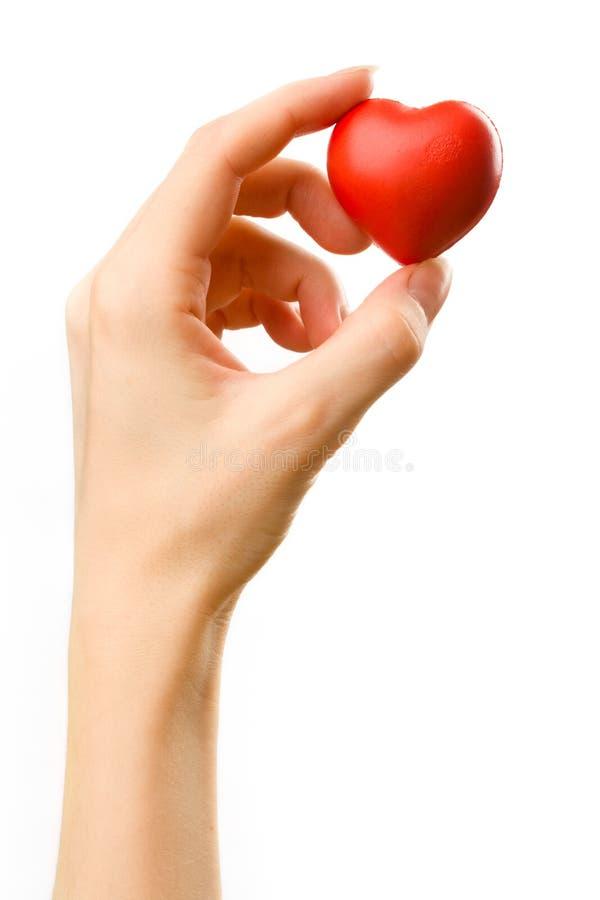 Coração na mão fêmea fotografia de stock
