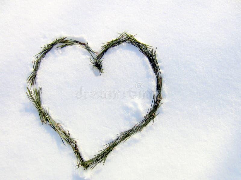 Coração na neve Uma declaração do amor foto de stock