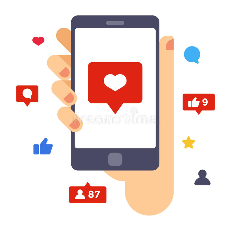 Coração na tela do smartphone Smartphone da posse da mão Ilustração lisa criativa do vetor do projeto ilustração stock
