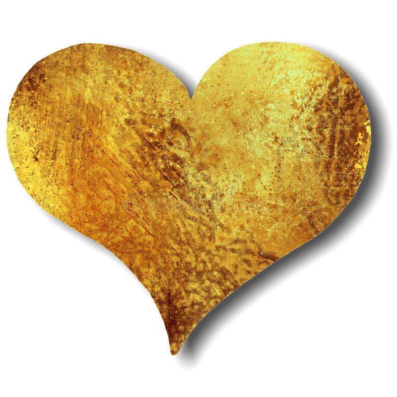 Coração na textura do grunge do ouro ou do bronze fotos de stock royalty free