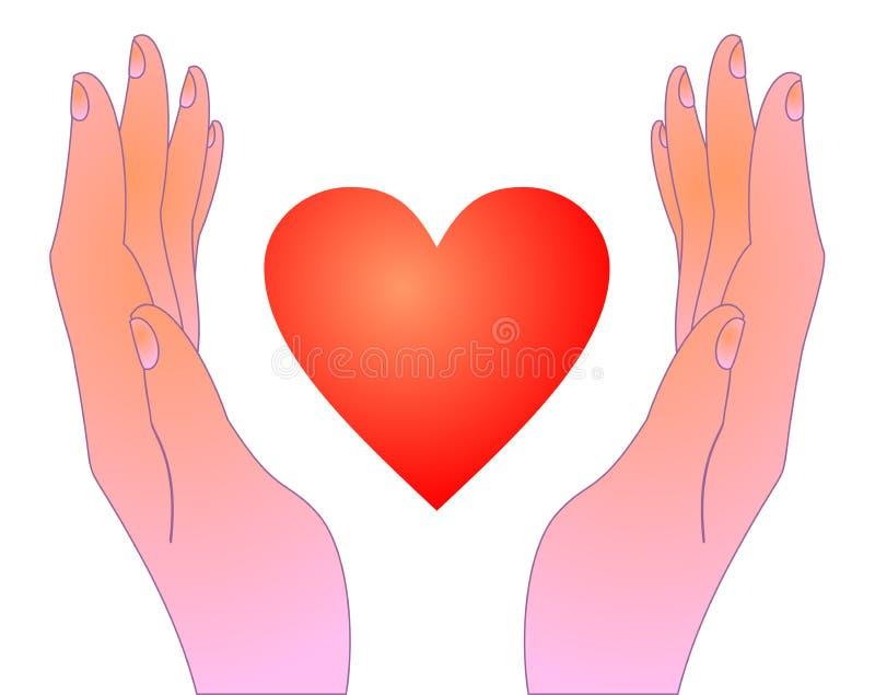 Coração na tiragem das mãos ilustração stock