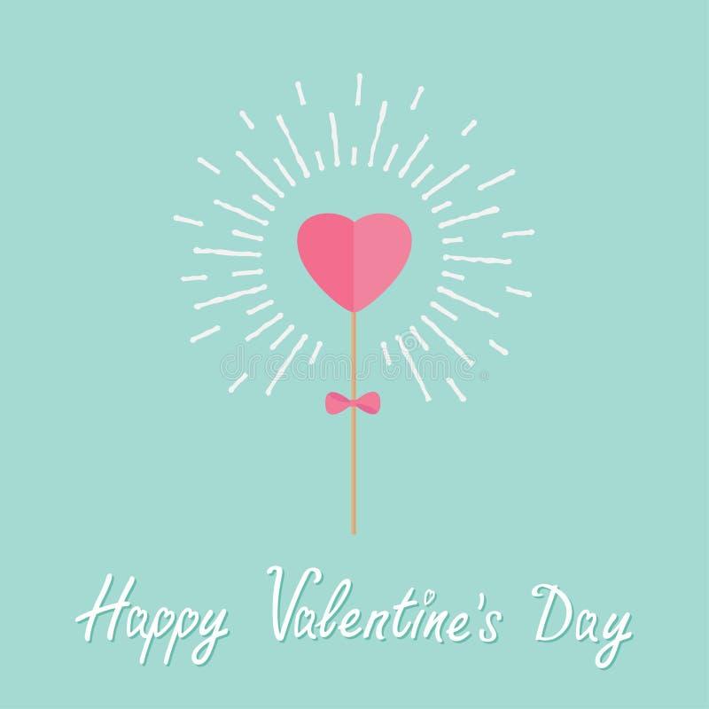 Coração na vara com a curva que brilha o amor da palavra do efeito da luz Dia de Valentim feliz do projeto liso ilustração royalty free