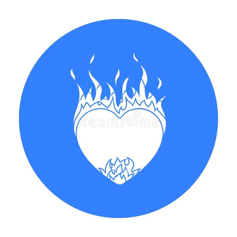 Coração no ícone da chama no estilo preto isolado no fundo branco Ilustração romântica do vetor do estoque do símbolo ilustração royalty free