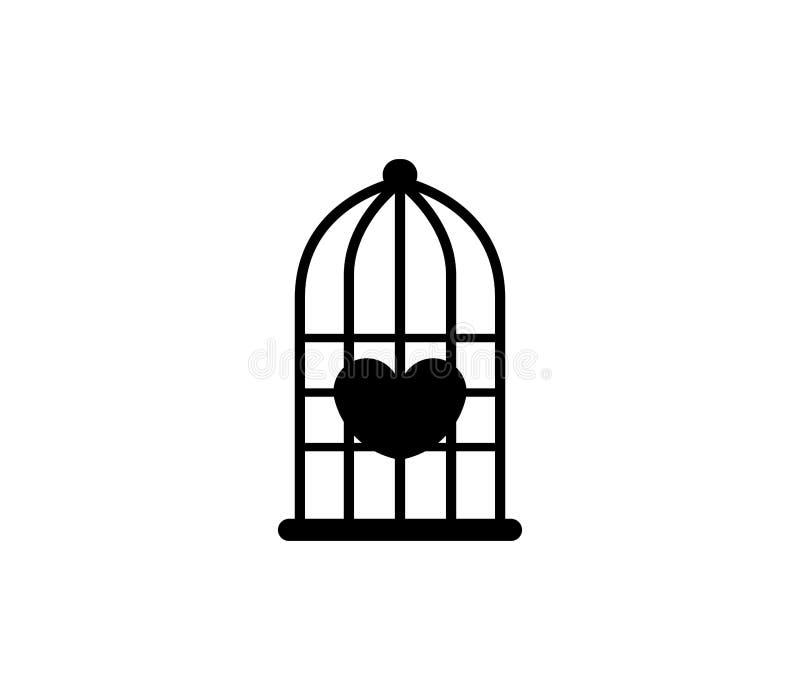Coração no ícone da gaiola de pássaro ilustração do vetor